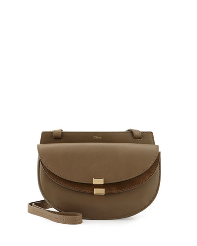 Georgia Mini Leather Crossbody Bag, Gray