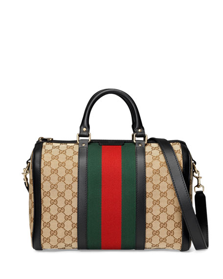 Gucci Vintage Web Medium Boston Bag, Black/Red/Green