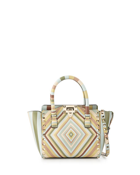 Valentino Rockstud 1975 Micro Mini Shopper Bag, Green Multi
