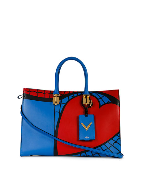 Superhero Spiderman Tote Bag, Red/Blue
