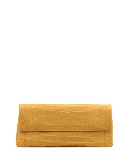 Nancy Gonzalez Gotham Crocodile Flap Clutch Bag, Yellow