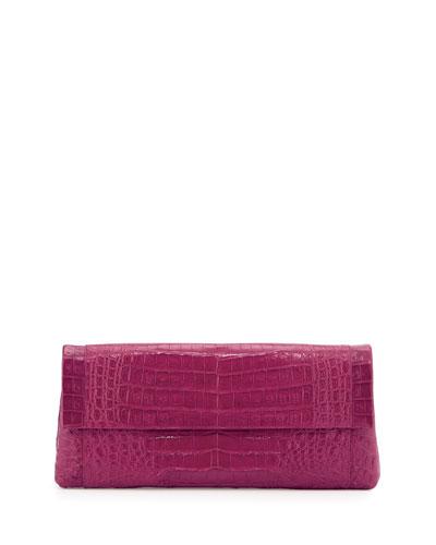 Gotham Crocodile Flap Clutch Bag, Pink Matte