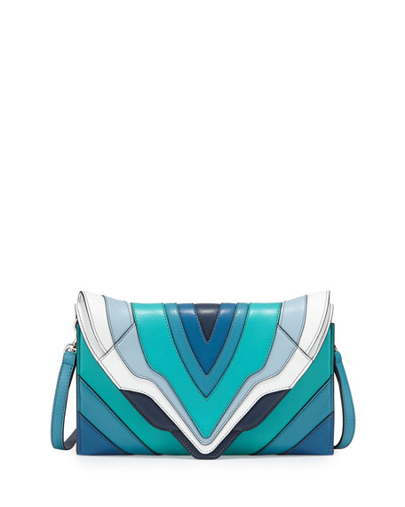 Elena Ghisellini Selina Rainbow Clutch Bag, Reef/Blue/Aqua