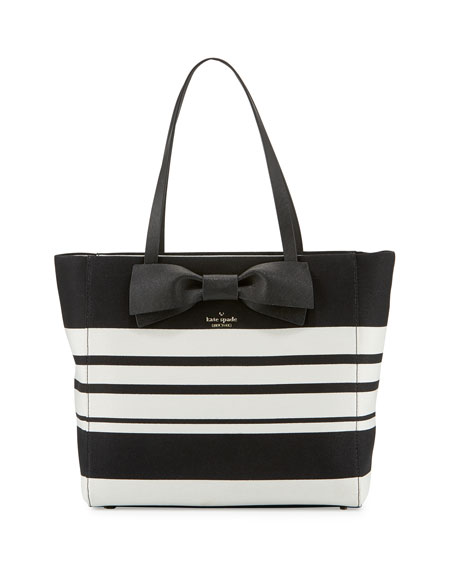 kate spade new york clement street blair striped tote bag, black ...