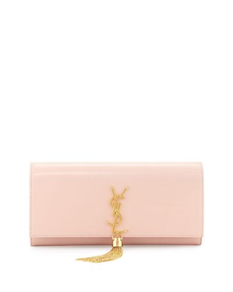 Saint Laurent Monogram Calfskin Clutch Bag, Pale Blush