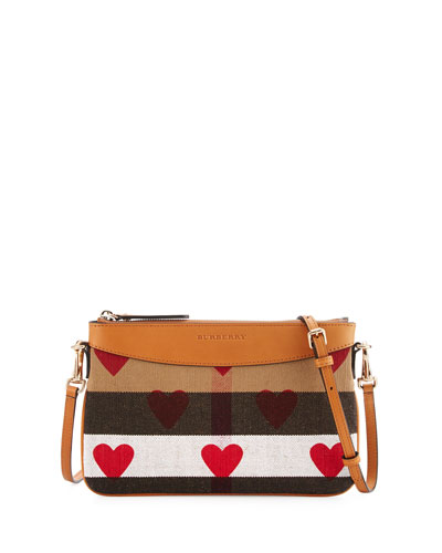 Peyton Heart-Print Check Crossbody Bag, Parade Red