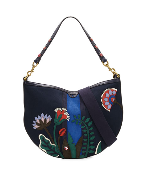 Tory Burch Semicircle Utopia Hobo Bag, Tory Navy