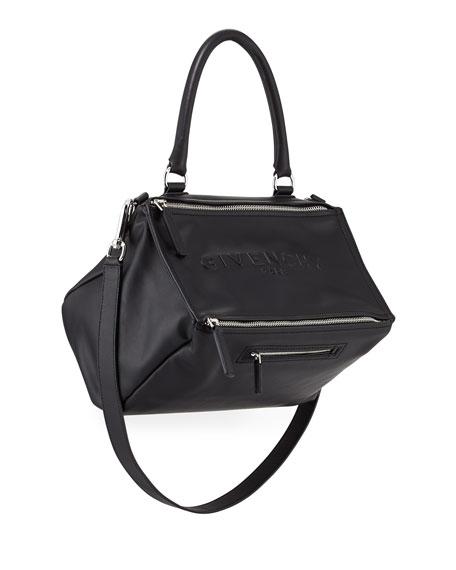 Pandora Medium Debossed Leather Satchel Bag, Black