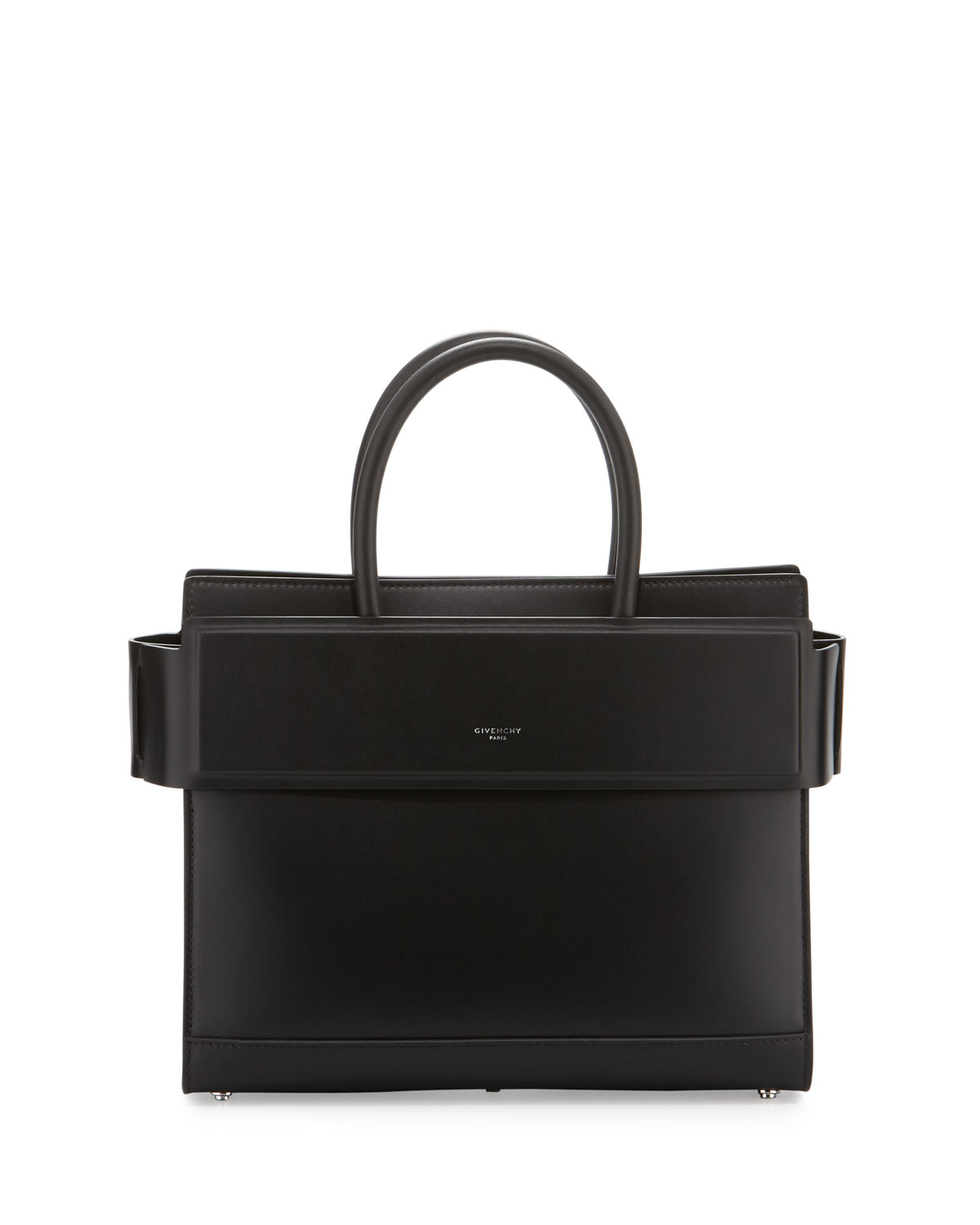 Horizon Small Leather Satchel Bag Black