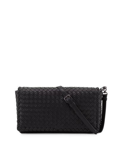 Small Intrecciato Flap Clutch Bag w/Strap  Black