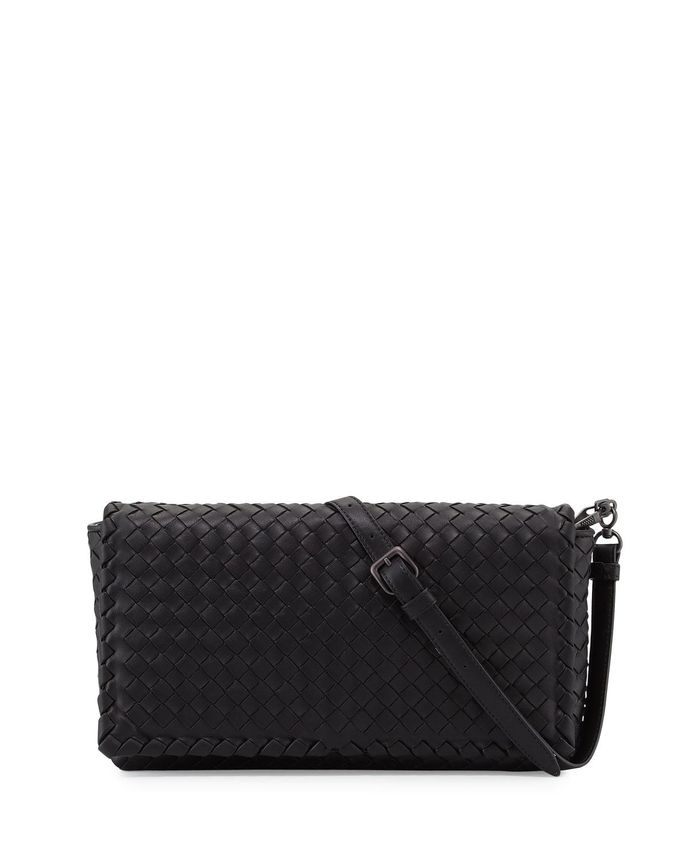8e80e9b903 Bottega Veneta Small Intrecciato Flap Clutch Bag w/Strap, Black ...