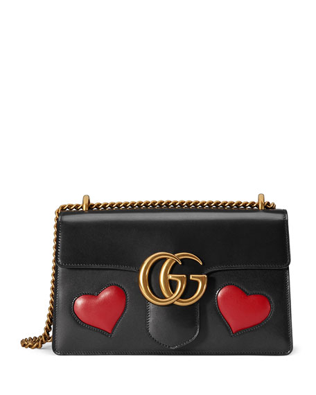 Gucci Gg Marmont Medium Heart Shoulder Bag Black Multi