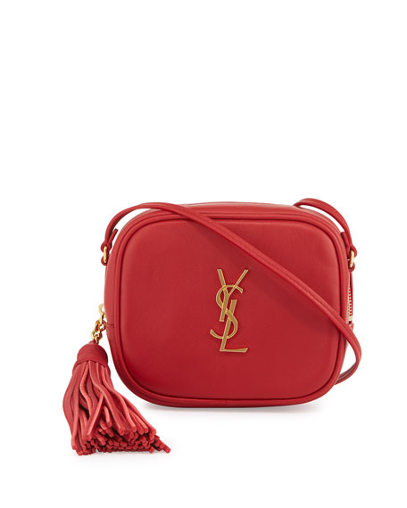 Saint Laurent Monogram Blogger Crossbody Bag, Red | Neiman Marcus