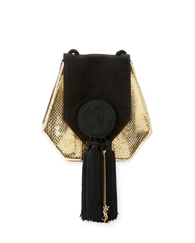 Opium Snakeskin Suede Crossbody Bag Gold Black