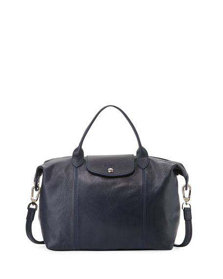 Longchamp Le Pliage Cuir Handbag with Strap, Navy