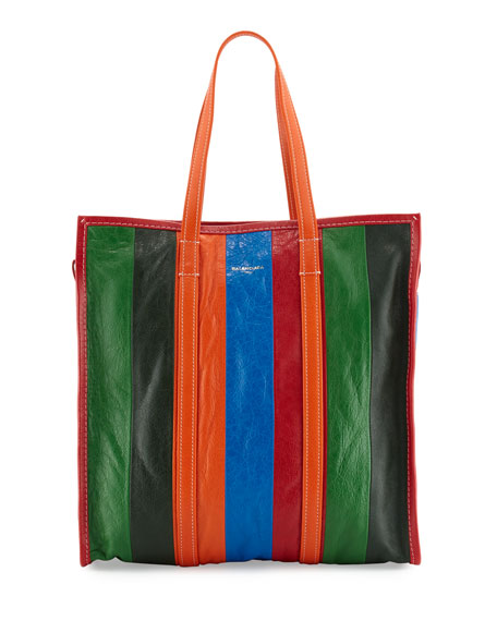 Balenciaga Bazar Shopper Medium Striped Leather Shopper Tote