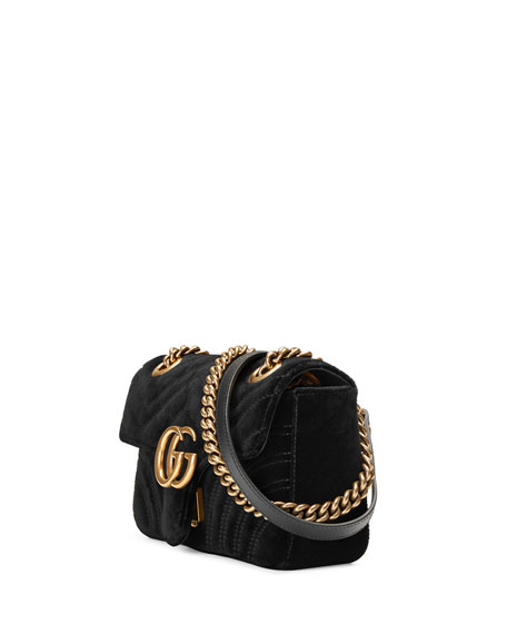GG Marmont Mini Quilted Velvet Crossbody Bag, Black