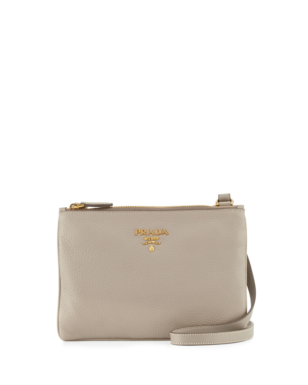 fb078ac8ae10d7 Prada Vitello Daino Double-Zip Crossbody Bag, Light Gray (Pomice ...