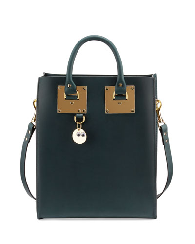 Albion Mini Leather Tote Bag, Forest Green