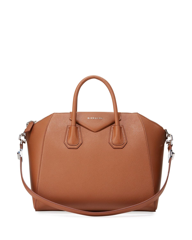 8793a71ee99dd Givenchy Antigona Medium Leather Satchel Bag, Caramel | Neiman Marcus
