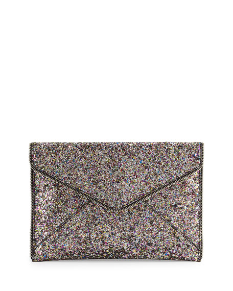 Leo Glitter Envelope Clutch Bag, Silver/Multi in Silver/ Silver Hrdwr