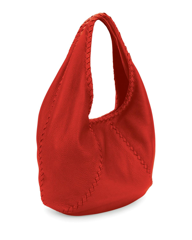 1579d8c2b408b Bottega Veneta Cervo Large Leather Hobo Bag | Neiman Marcus