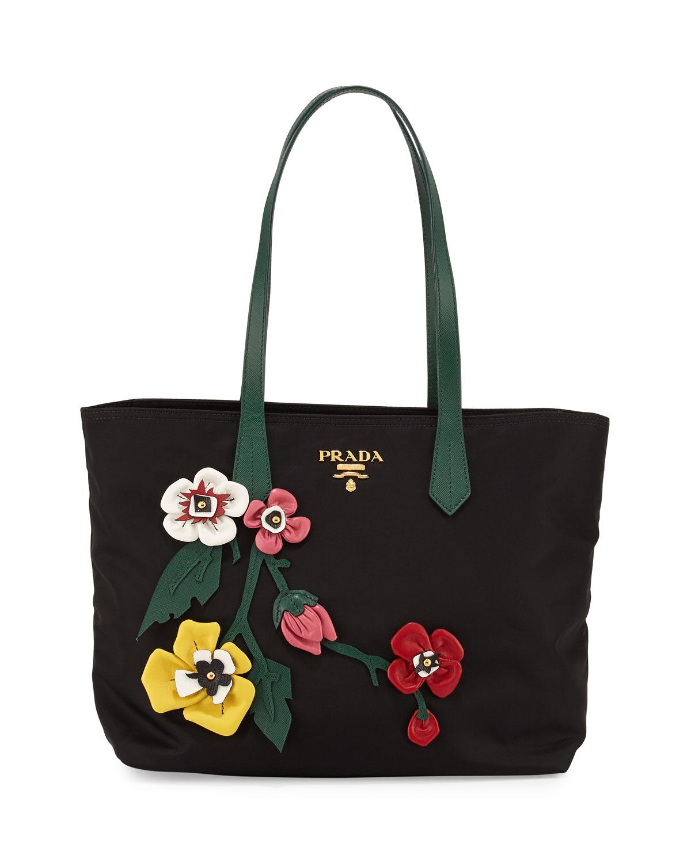 2a5a4cc1cfbd Prada Tessuto Medium Flowers Shopping Tote Bag