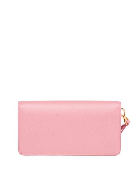 Saffiano Flap Phone Wristlet Wallet w/ Crossbody Strap