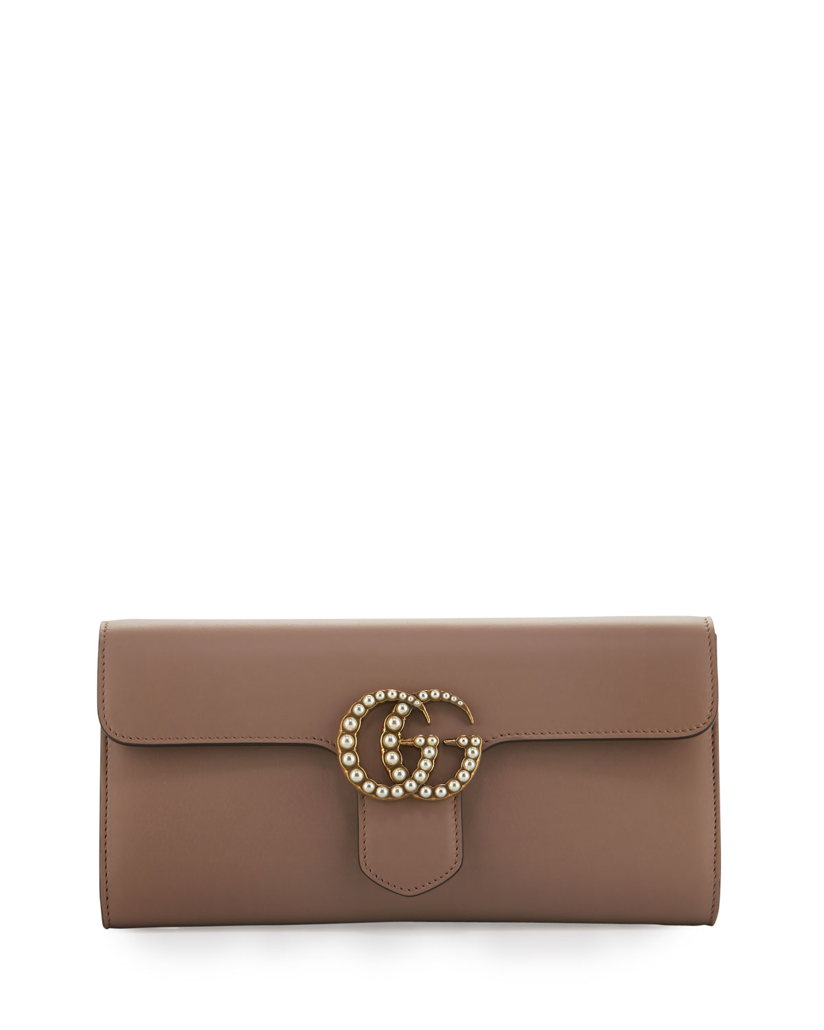 b49346eb8d8 Gucci GG Marmont Pearly Leather Clutch Bag
