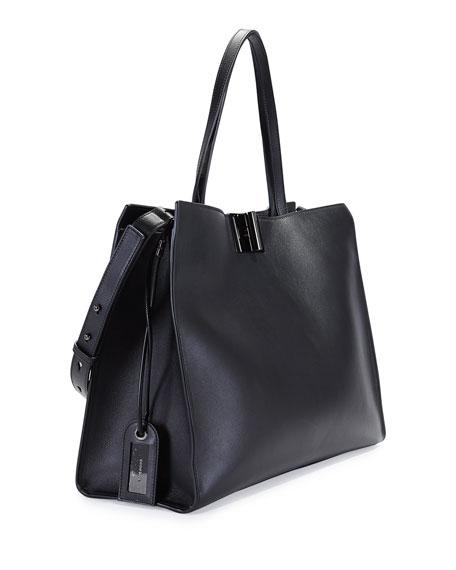 Natalia Leather Turn-Lock Tote Bag