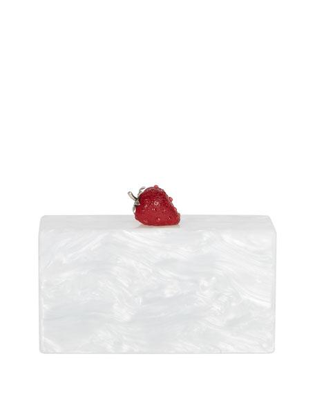 Jean Marbled Acrylic Strawberry Clutch Bag