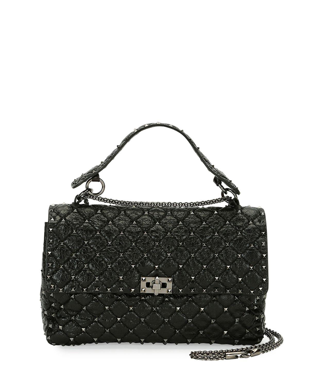 d70b0f1e97 Valentino Garavani Rockstud Large Quilted Shoulder Bag, Black ...