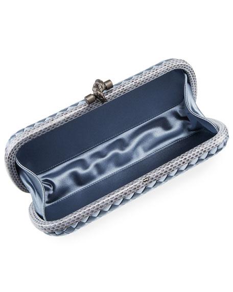 Satin-Snakeskin Stretch Knot Minaudiere Bag