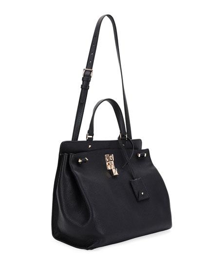 Joy Lock Medium Leather Satchel Bag
