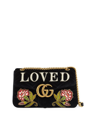 GG Marmont Medium Embroidered Velvet Shoulder Bag, Black