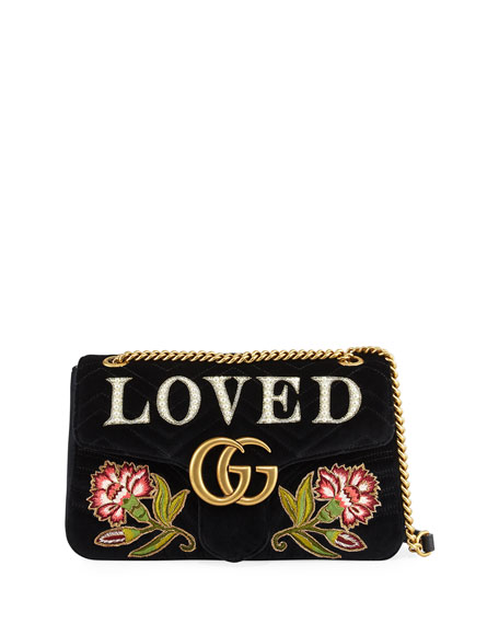 Pre-Owned: Gg Marmont Flap Bag Embroidered Matelasse Velvet Medium in Black