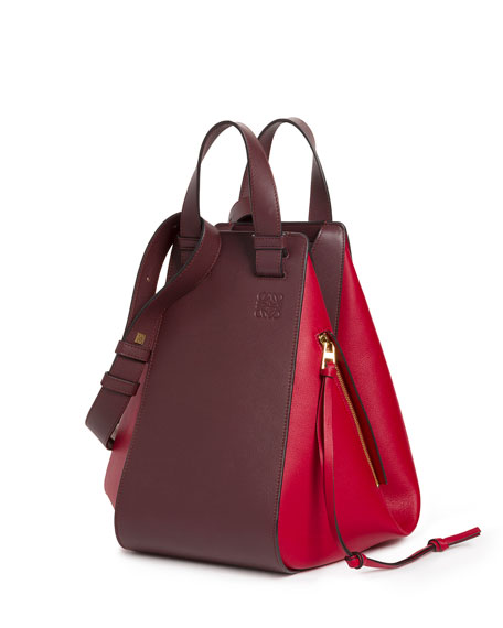 Loewe Two-Tone Leather Hammock Bag, Red