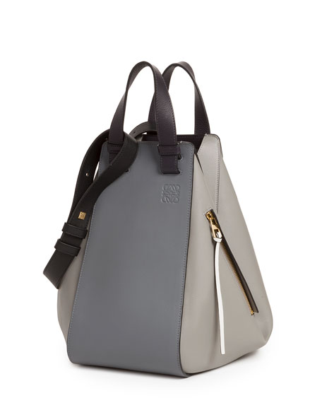 Loewe Smooth Leather Hammock Bag, Gray