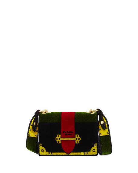 Green trompe-loeil Small Velvet belt bag Prada HtAQsS