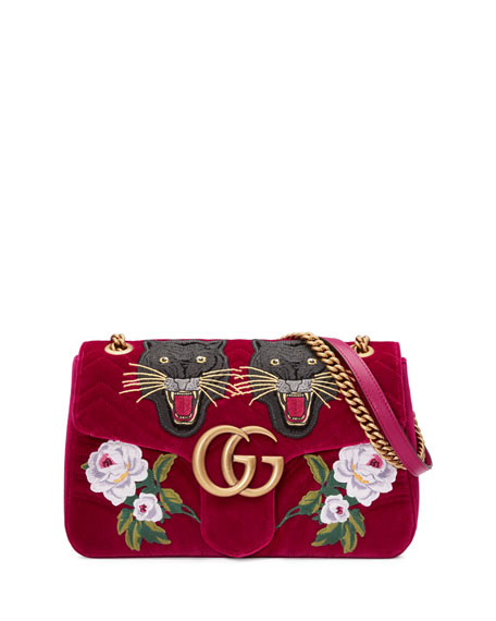 Gucci 110th Anniversary GG Marmont Small Panther Velvet