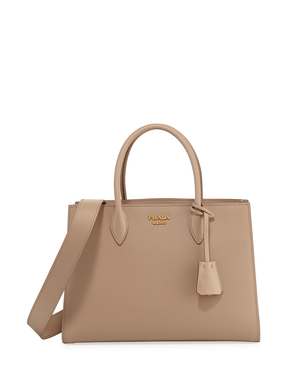 Large Bicolor Saffiano Side Pleat Tote Bag