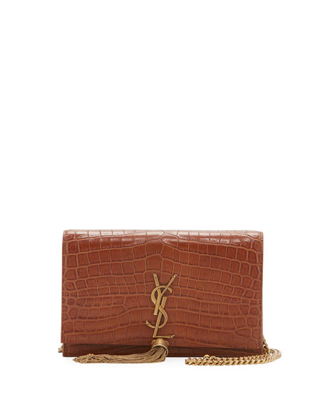 Saint Laurent Kate Crocodile-Embossed Small Tassel Wallet on