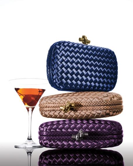 Bottega Veneta Medium Chain Knot Satin Clutch Bag
