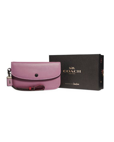 Coach 1941 Two-Tone Leather Wristlet Clutch Bag