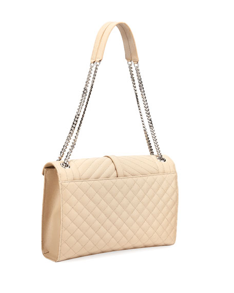 Saint Laurent Large Tri-Quilted Matelasse Grain de Poudre Flap Shoulder Bag, Silvertone Hardware
