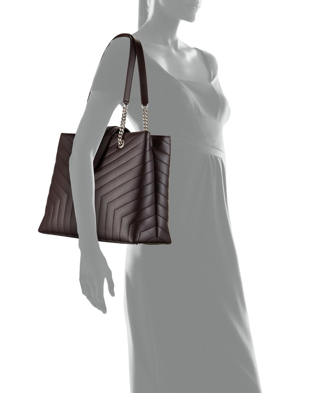 ec17bdccfde Saint Laurent Loulou Monogram YSL Large Quilted Shoulder Tote Bag - Nickel  Oxide Hardware   Neiman Marcus