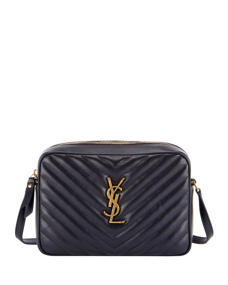 Saint Laurent Loulou Monogram YSL Medium Chevron Quilted Leather Camera Shoulder Bag - Brilliant Golden Hardware