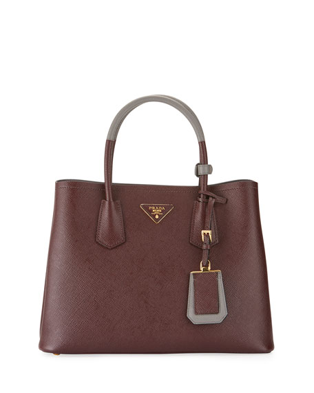 a2ea18e1af68 Prada Saffiano Cuir Small Double Bag