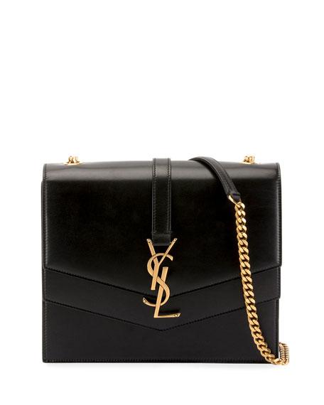 c1c88318dff5 Saint Laurent Sulpice Medium YSL Monogram Leather Triple V-Flap Crossbody  Bag