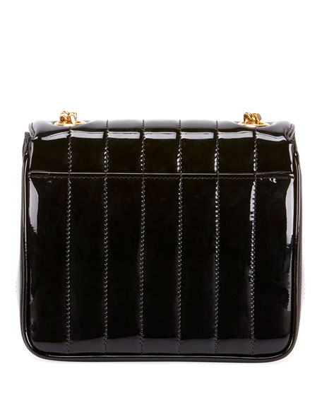 Image 4 of 5: Saint Laurent Vicky Monogram YSL Small Quilted Patent Leather Crossbody Bag